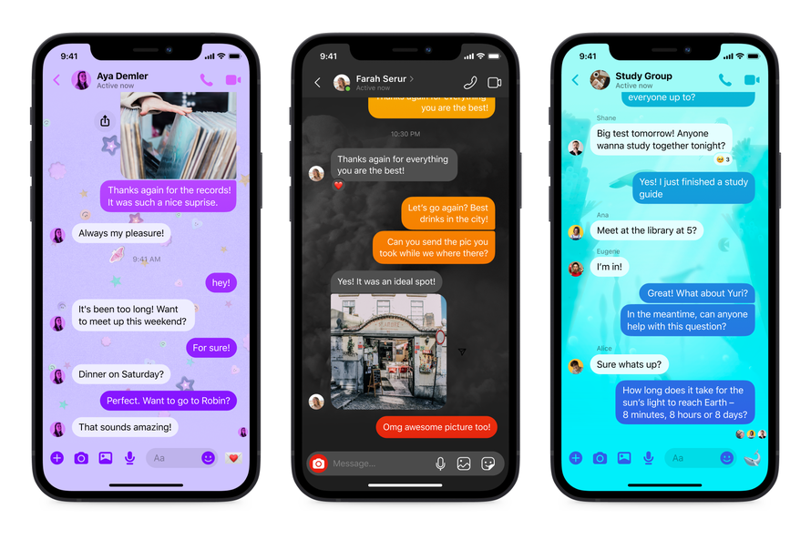 new messenger chat themes product mock