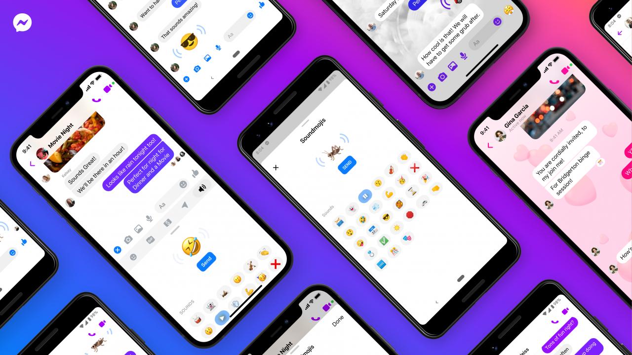 Screenshots of Messenger Soundmojis
