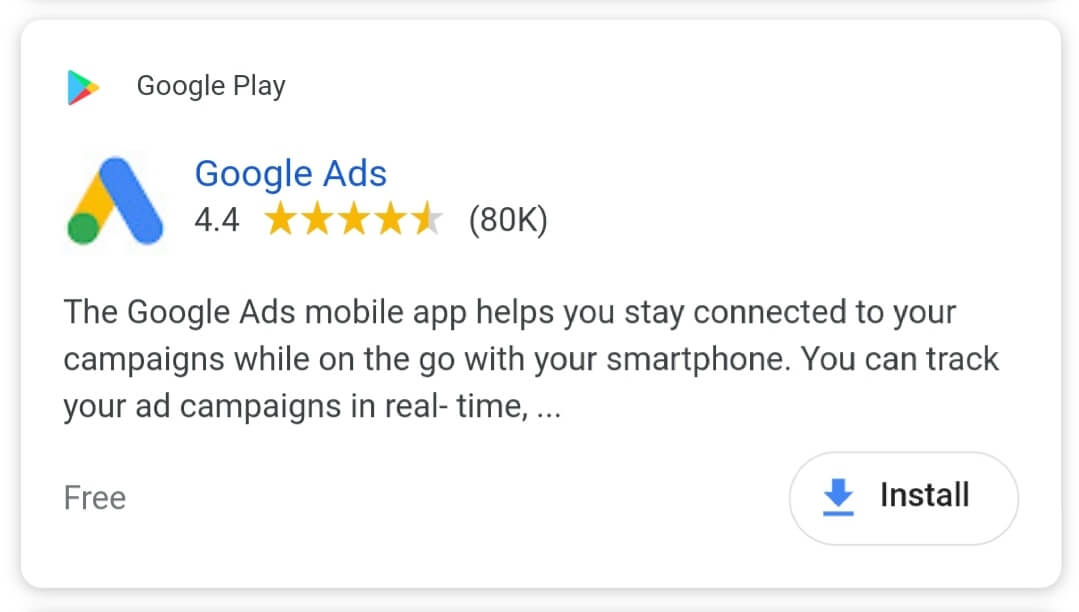 Example of Google App Campaign